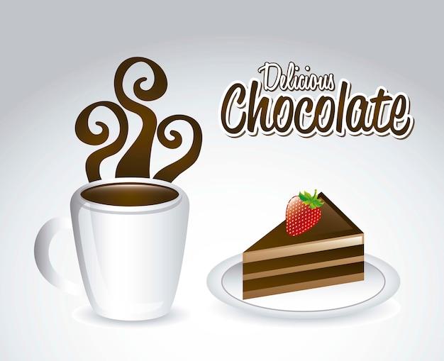 Chocolated und kuchen über grauer hintergrundvektorillustration