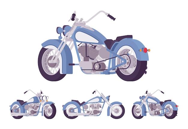 Chopper benutzerdefinierte motorrad hellblau set
