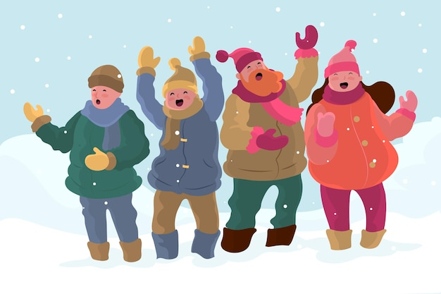 Chor der leute, die weihnachtslied singen