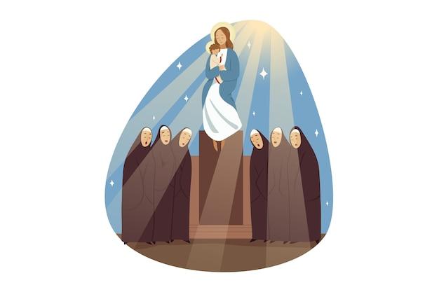Chor der weiblichen nonnenschwestern, die lieder singen, die jungfrau maria jesus christus verherrlichen