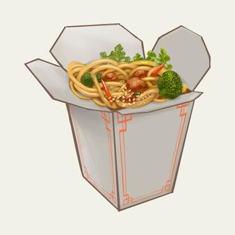 Chow mein in takeawy kastenillustration