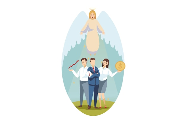 Christentum, bibel, religion, schutz, geschäft, unterstützungskonzept. engel biblischer religiöser charakter schützt geschäftsmann frau angestellte manager, die zusammen stehen. illustration der göttlichen unterstützungspflege.