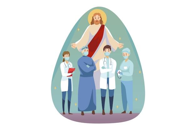 Christentum, bibel, religion, schutz, gesundheit, pflege, medizinkonzept. jesus christus, sohn gottes, messias, der männer, frauen, ärzte, krankenschwestern und gesichtsmasken schützt, die zusammenstehen. göttliche unterstützung und fürsorge