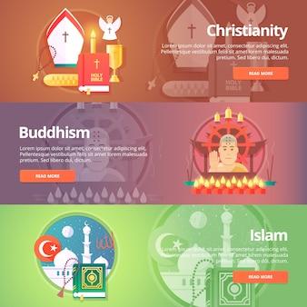 Christentum. buddhismus religion. buddhistische kultur. islam religion. muslimische kultur. religion und geständnisse banner gesetzt. konzept.