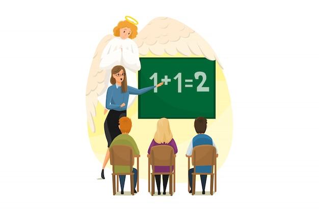 Christentum, religion, schutz, bildung, studium, unterstützungskonzept. engel biblischer religiöser charakter beobachtet junge frau, die kinderkinder in der schule unterrichtet. göttliche unterstützung und pflege illustration.