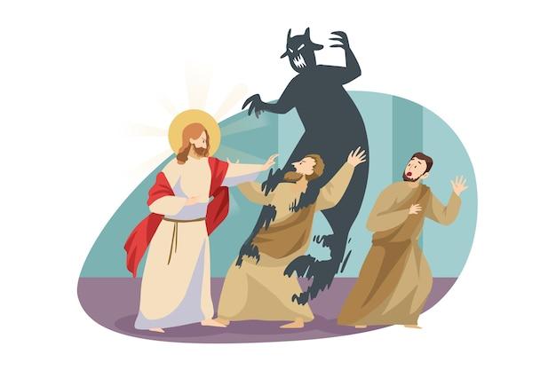 Christentum, schutz, teufelskonzept. jesuschrist, biblischer religiöser charakter, der dämon satan vom besessenen mann vertreibt.