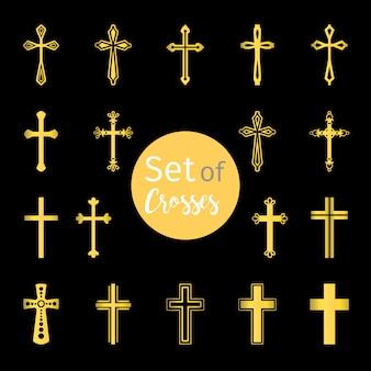 Christian kreuze zeichen in goldener farbe
