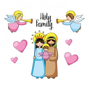 Christliche cartoons der heiligen familie