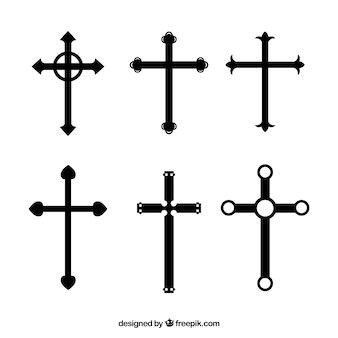 Christliche kreuzkollektion des schattenbildes