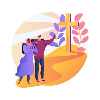 Christliche pilgerfahrten abstrakte konzeptillustration. gehen sie auf pilgerreise, besuchen sie heilige orte, suchen sie gott, christliche nonnen, mönche im kloster, religiöse prozession, gebet