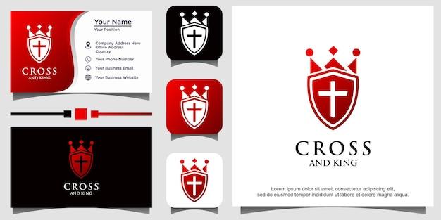 Christlicher kreuzkronen- und schildkirchenlogovektor
