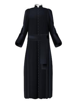 Christlicher priester-klerus, schwarzer rock mit weißem kragen