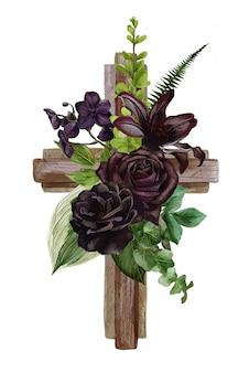 Christliches holzkreuz mit schwarzen rosen und blättern verziert