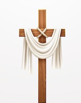 Christliches kreuz. herzlichen glückwunsch zum palmsonntag, ostern und der auferstehung christi. vektorillustration eps10