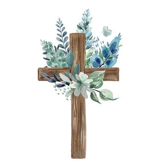 Christliches kreuz mit blumendekor, kaltgrünen und bläulichen tönen. aquarellillustration