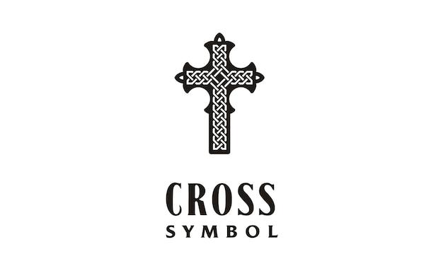 Christliches kreuz mit celtic knot logo