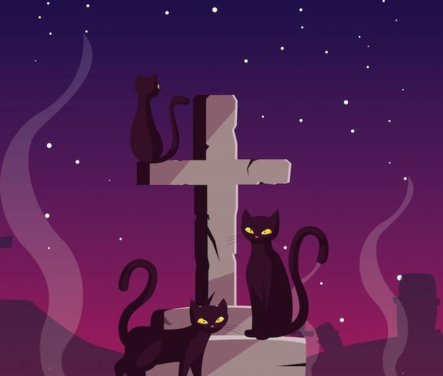 Christliches kreuz mit schwarzen katzen in der szene von halloween