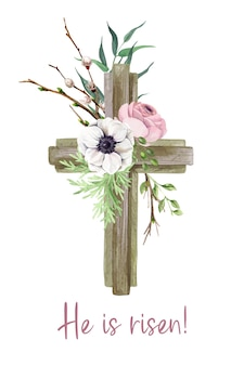 Christliches osterkreuz mit anemonenblumen, osterdekoration, handgezeichnete aquarellillustration