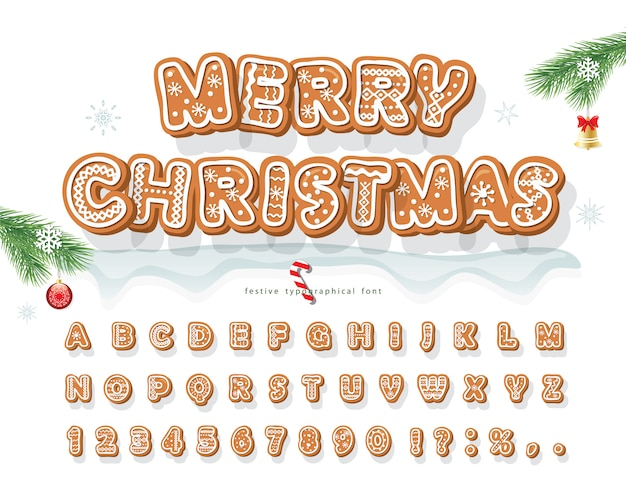 Christmas gingerbread cookie schriftart.