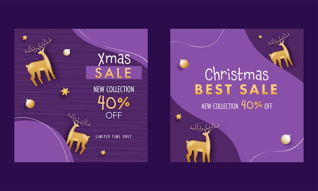 Christmas sale new collection post oder vorlage mit 40% rabatt und 3d golden rentier auf lila hintergrund.