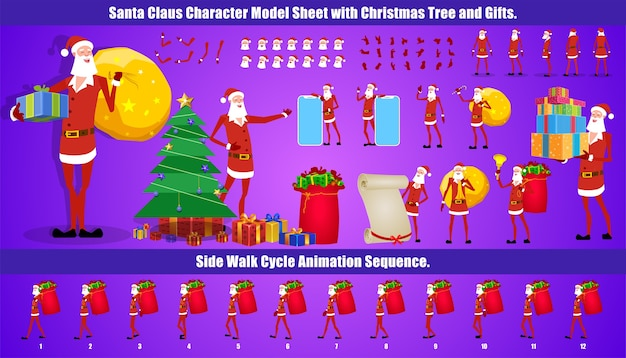 Christmas santa claus character design modellblatt mit walk-cycle-animation und lippensynchronisation