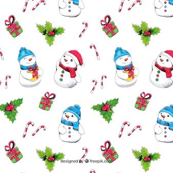 Christmas snowmen hintergrund und hand gemalten ornamenten