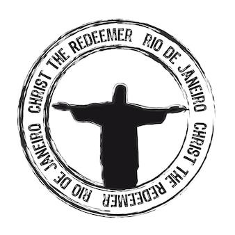 Christus der redemer rio de janeiro stempel isoliert