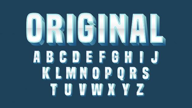 Chrom-blauer mutiger typografie-entwurf