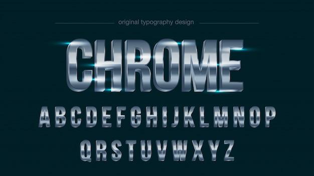 Chrom stahl silber großbuchstaben fett typografie