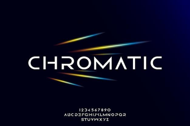 Chromatisch, eine abstrakte futuristische alphabetschrift mit technologiethema. modernes minimalistisches typografie-design
