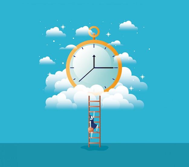 Chronometer-timer mit geschäftsfrau