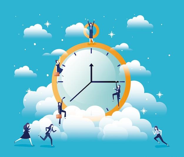 Chronometer-timer mit geschäftsfrauen