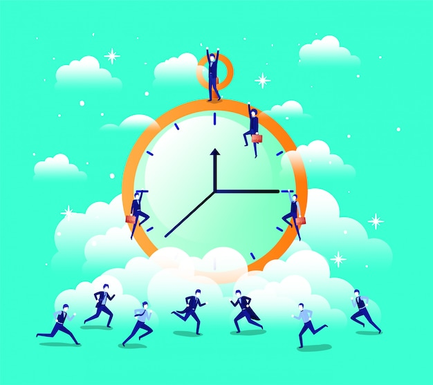 Chronometer-timer mit geschäftsleuten