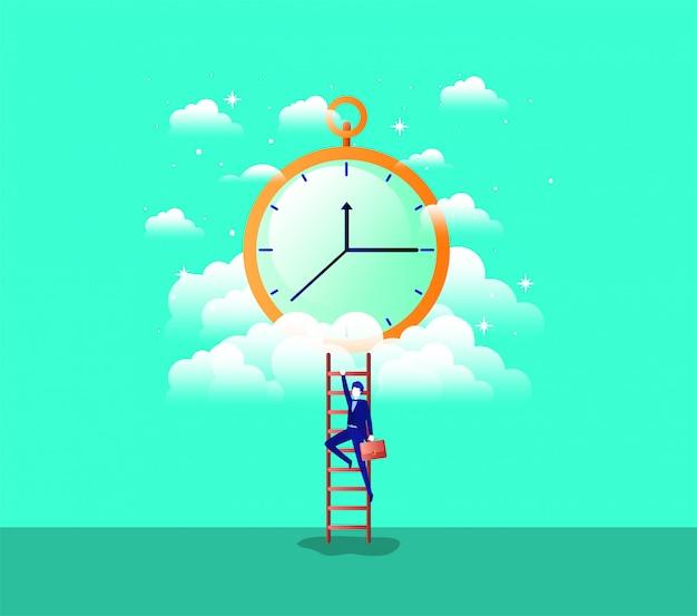 Chronometer-timer mit geschäftsmann