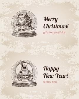 Chrystal-anruf sankt-elchweinlesevektor-illustrationssatz. gezeichnete stichart des guten rutsch ins neue jahr und der frohen weihnachten hand