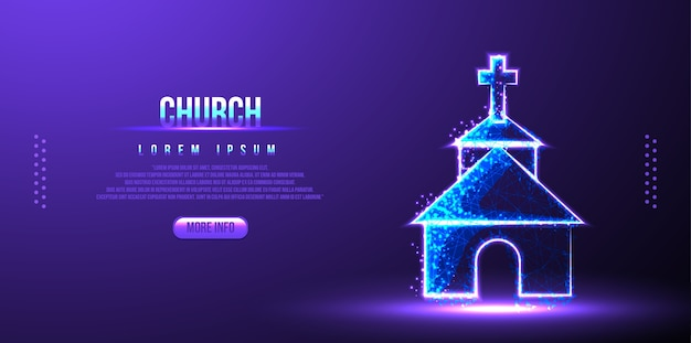 Church low poly wireframe