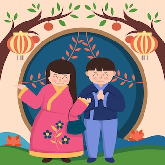 Chuseok festival illustration design