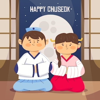 Chuseok festival illustrationsthema
