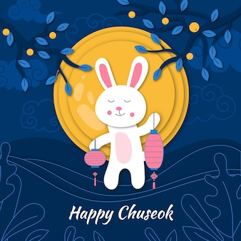 Chuseok festival im papierstil design
