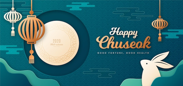 Chuseok festival im papierstil