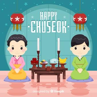 Chuseok hintergrund im flachen stil