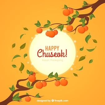 Chuseok-Hintergrund mit Niederlassungen und Früchten