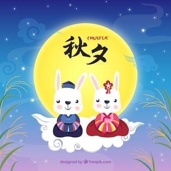 Chuseok Hintergrund mit niedlichen Kaninchen