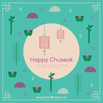 Chuseok Komposition mit flachem Design