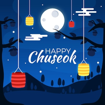 Chuseok-konzept im flachen design
