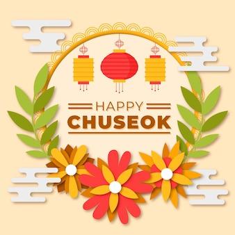 Chuseok-konzept im papierstil