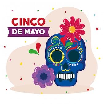 Cinco de may illustration mit schädel- und blumendekoration