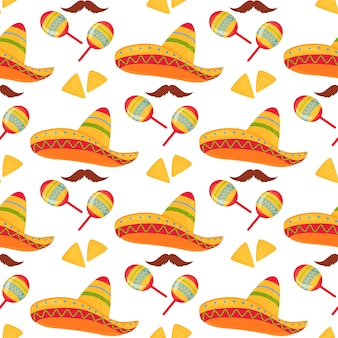 Cinco de mayo. 5. mai. nahtloses muster aus mexikanischem sombrero, nachos, schnurrbart und maracas.