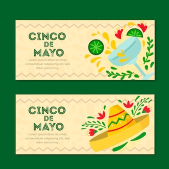 Cinco de mayo banner in flachem design
