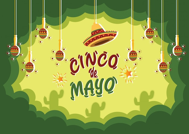 Cinco de mayo celebration background mit kaktus und traditionellen musikinstrumenten